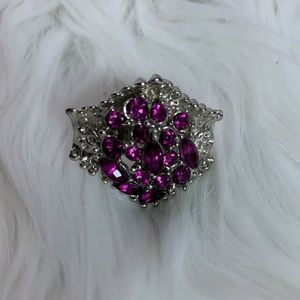 Purple Jeweled  fashion adjustable band ring